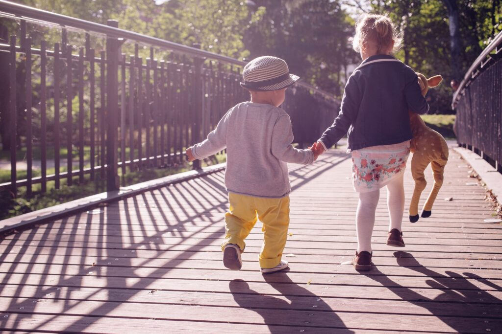 two children walking
