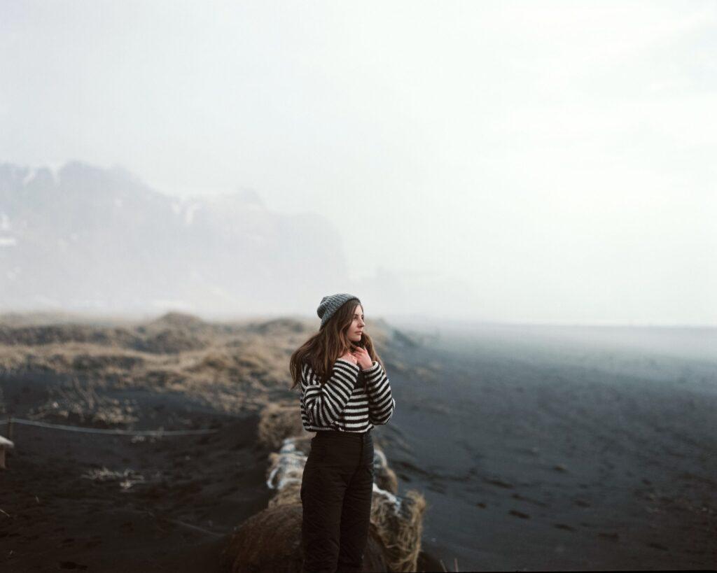 Young person walking mountain