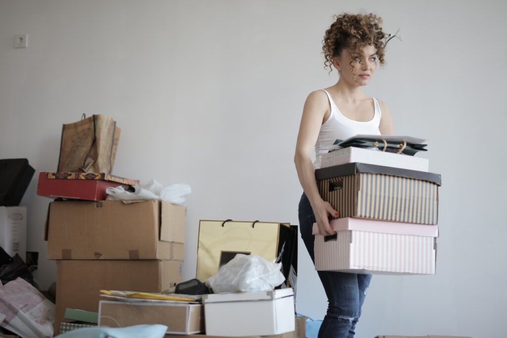 Woman moving boxes