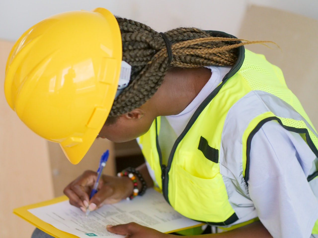 Young woman in construction